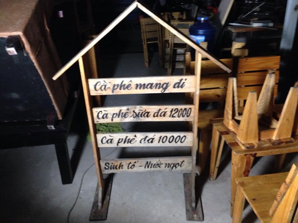 Thanh lý menu gỗ quán cafe 0331